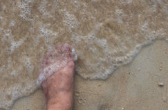 Top view and left foot, man on sand and waves sea in summer.  Stock Images