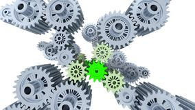 Top view of left to right camera slow move of many gray and green big gears. With a white background royalty free illustration