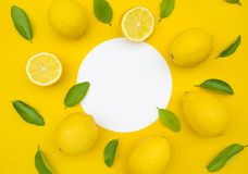 Top view of lemon and leaves on color background.concepts ideas. Of fruit,vegetable.healthy eating lifestyle stock image