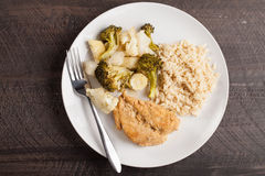 Top view of Lemon Lime Chicken and roasted vegetables Royalty Free Stock Image