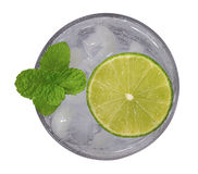 Top view of lemonade with lime slice and mint isolated on white Royalty Free Stock Photo