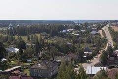 Top view on Lenin Street in the city of Totma, Vologda Region Stock Photos