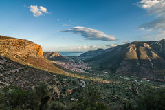 Top view of Leonidio city and Aegean Sea Royalty Free Stock Photos