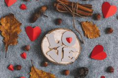 letters LOVE hearts cinnamon sticks bundle nuts and autumn leaves stock images