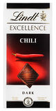 Top view of Lindt EXCELLENCE Chili Swiss dark chocolate bar isolated on white Stock Photography