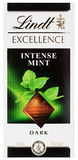 Top view of Lindt EXCELLENCE intense mint Swiss dark chocolate bar isolated on white Royalty Free Stock Photos