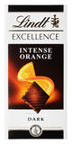 Top view of Lindt EXCELLENCE intense orange Swiss dark chocolate bar isolated on white. MOSCOW, RUSSIA - APRIL 9, 2017: Top view of Lindt EXCELLENCE intense Royalty Free Stock Photos
