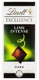 Top view of Lindt EXCELLENCE Lime intense Swiss dark chocolate bar isolated on white Stock Photography
