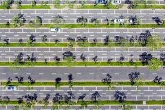 Top view of Linear Car Parking and Green Lines in Shenzhen, Chin stock photos
