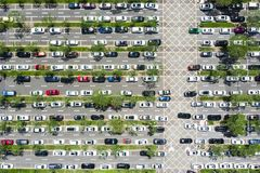 Top view of Linear Car Parking and Green Lines in Shenzhen, Chin royalty free stock photos