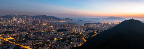 Top view from The lion rock park, sunset onver Kowloon and Hong Royalty Free Stock Photo