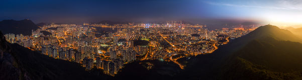 Top view from The lion rock park, sunset onver Kowloon and Hong Stock Photo