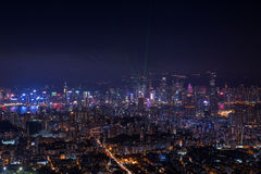 Top view from The lion rock park, sunset onver Kowloon and Hong Stock Photos