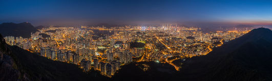 Top view from The lion rock park, sunset onver Kowloon and Hong Stock Photography