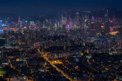 Top view from The lion rock park, sunset onver Kowloon and Hong Royalty Free Stock Image