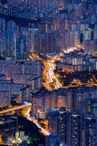 Top view from The lion rock park, sunset onver Kowloon and Hong Stock Images