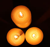 Top View of Lit Candles Royalty Free Stock Photo