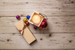 Top view of little candle and gift box Stock Photo