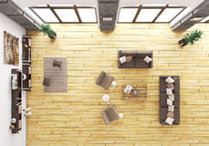 Top view of living room interior 3d render Royalty Free Stock Photo