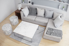 Top view of a living room. Top view interior of a living room in white colors stock photography