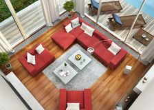 Top view of the living room near the swimming pool. Top view of the large living room near the swimming pool royalty free illustration
