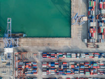 Top view of Logistic port. Logistic port, vessel transportation and import, export business with boat and crane Stock Photography