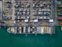 Top view of Logistic port Stock Image