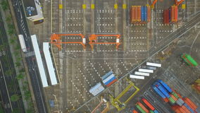 Top view of logistics cargo container industrial sea port freight warehouse stock footage