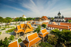 Top view of loha prasat and golden mountain Royalty Free Stock Images