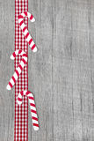 Top view of lollipop decoration on wooden background for christm Stock Images