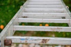 Top view of a long silver aluminum ladder leaning against the wall of the house. Close up view from top of tall step ladder Royalty Free Stock Photos