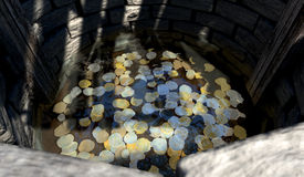 Wishing Well With Coins Perspective Royalty Free Stock Photography