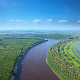 Top view the lowland beside the large river Stock Photography