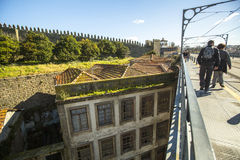 Top view from Luiz iron bridge is the Old Town at Porto. Royalty Free Stock Image