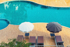 Top view of luxury swimming pool., Exterior design. Stock Images