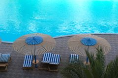 Top view of luxury swimming pool. Exterior design.  Stock Photography
