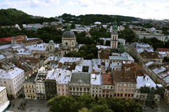 Top view from Lvov City Hall. old town, sightseeng. Roofs of old town houses and domes of churches and cathedrals Royalty Free Stock Photo