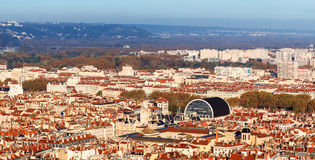 Top view of Lyon old town and Lyon opera house. View of lyon old town and the opera house of Lyon from top view Royalty Free Stock Photos