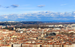 Top view of Lyon Old town and Lyon opera house, Lyon, France. Top view of Lyon Old town and Lyon opera house Royalty Free Stock Image