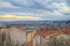 Top view of Lyon old town taked from croix rousse, Vieux Lyon, France Stock Photos