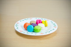 Top view Macarons on wood Royalty Free Stock Images