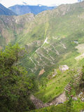At the top - a view of Machu Picchu from Wayna Picchu mountain. Peru royalty free stock photography