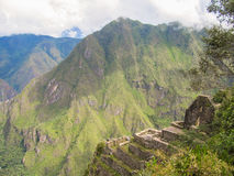 At the top - a view of Machu Picchu from Wayna Picchu mountain. Peru stock image