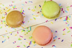 Top view on Macrons on table Stock Photo