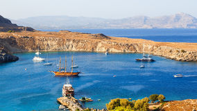 Top view of the main Bay of Lindos, with the yachts and ships of Rhodes Greece. A bright Sunny day stock photography