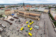 Top view of Main market square, cloth hall and town hall tower, Krakow Royalty Free Stock Image
