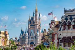 Top view of Main Street and Cinderella Castle in Magic Kingdom at Walt Disney World  1