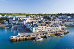 Top view of the main street of La Palais the island - Belle Ile Royalty Free Stock Photos