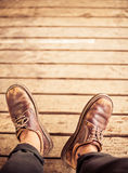 Top view of Male feet Royalty Free Stock Images