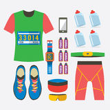 Top View Of Male's Runner Gears. Royalty Free Stock Photos